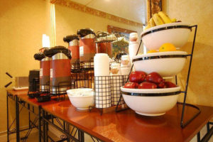 fresh fruit and coffee station