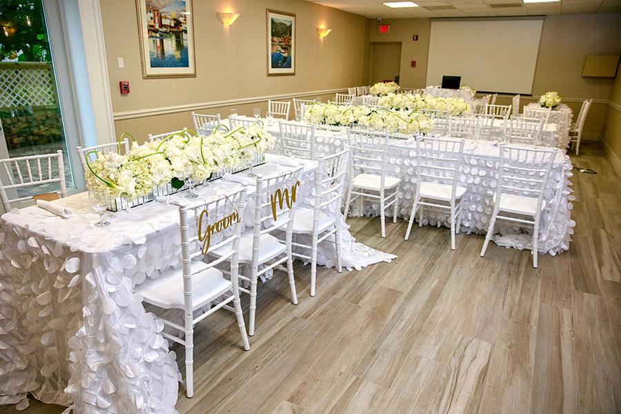 event room setup for a wedding