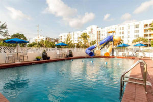 outdoor pool with waterslides